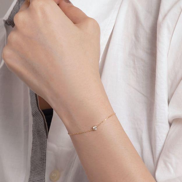 Orefice / K18ゴールド×ダイヤモンド0.1ct「ヌード」ブレスレット