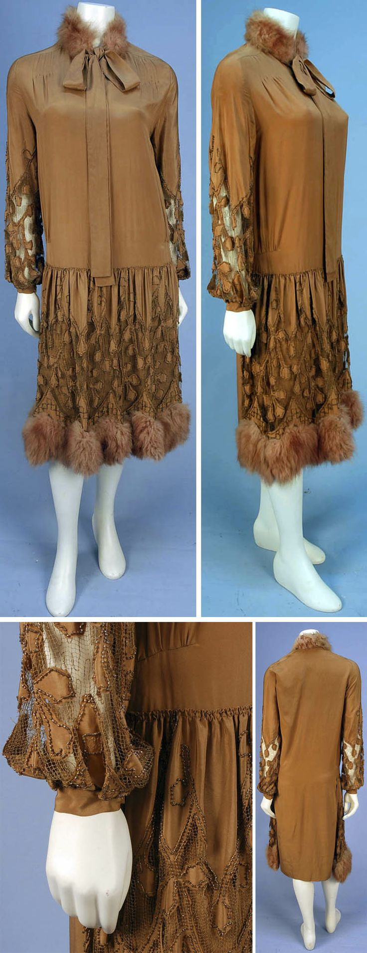 Cinnamon crepe de chine dress with beaded net and fur, 1920s. Long sleeve V-neck; dropped waist. Net lower sleeve & front skirt overlay have stylized leaf appliqués and are trimmed with cinnamon beading & embroidery. Reddish-brown fur hem band and collar with long silk ties. Whitaker Auctions