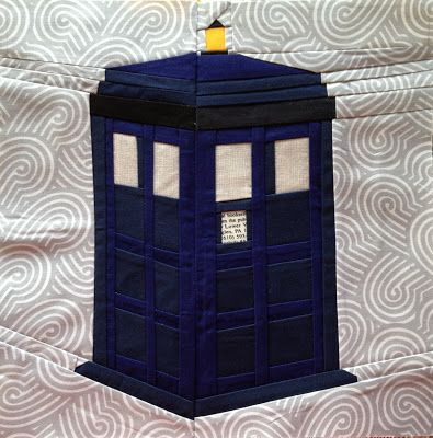 OMG!!!!!!!!!!!!!!!! A Doctor Who paper pieced tardis quilt block! I have died and gone to heaven! Thank you Trillium Design!