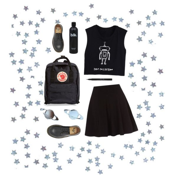 not from this planet by petrificustxtalus on Polyvore featuring polyvore, fashion, style, Dr. Martens, Fjällräven and Stila