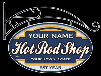 Personalized gifts! Hot Rod Shop sign. Add your name, town, state and established year.
