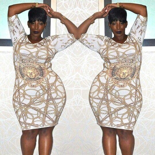 Medusa Head Gold Chain Bodycon Dress