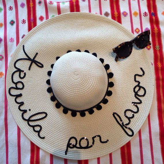 Tequila Por Favor Women's Floppy Sun Hat by HatsByOlivia on Etsy