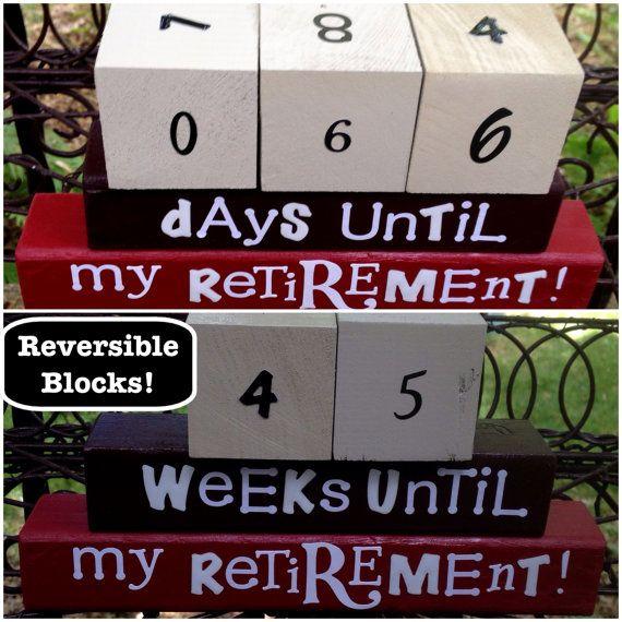 RETIREMENT COUNTDOWN blocks REVERSIBLE wood blocks stacking