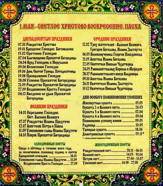 Церковный календарь на 2016 год с праздниками и постами