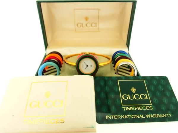 【買取】GUCCI(グッチ) チェンジベゼル替え 11個 バングル 時計 ギャラ付き/専門鑑定士があなたの商品を高額査定!全国どこでも自宅にいながら申込から買取まで完了します♪