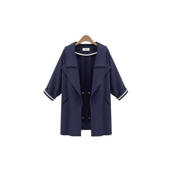 Navy Waterfall Trench Coat ($50) ❤ liked on Polyvore featuring outerwear, coats, navy coat, blue trench coat, waterfall coat, trench coat and navy blue coat