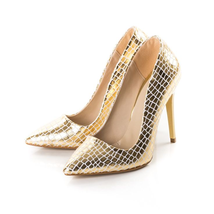 Pantofi dama Stiletto aurii croco