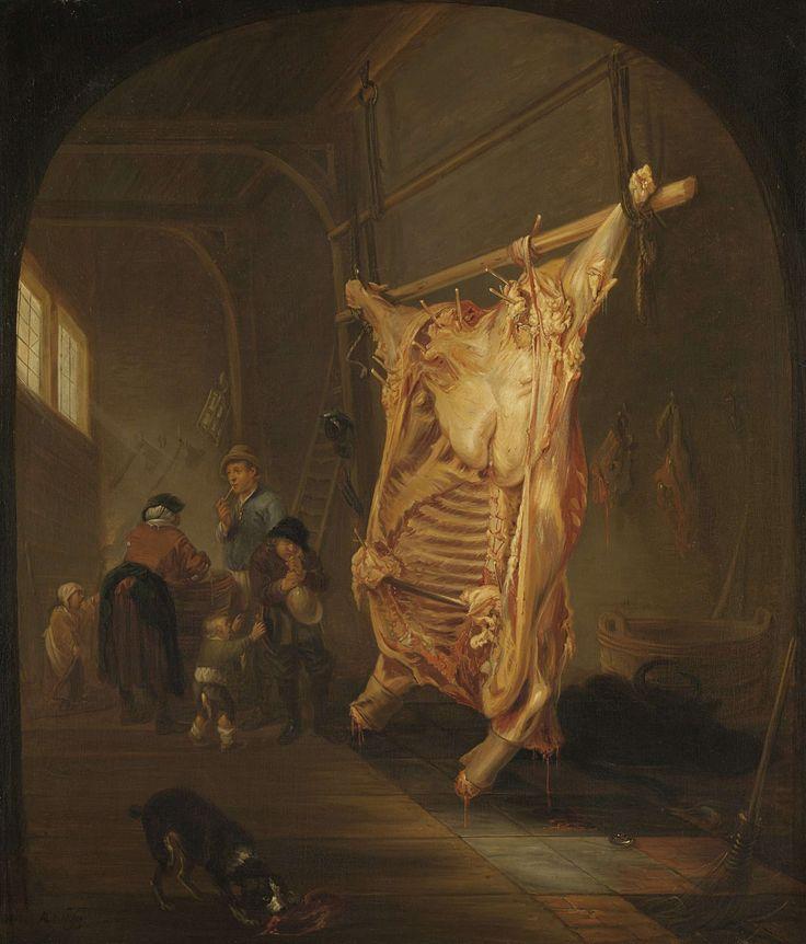 Abraham van den Hecken   The Slaughtered Cow, Abraham van den Hecken, 1635 - 1655   Interieur waar een geslacht rund opgespannen van het plafond hangt. Op de voorgrond een hond, linksachter wast een vrouw haar handen in een ton, hierbij spelende kinderen en een jongen met een opgeblazen blaas.