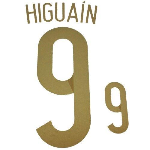 Argentina 2014 World Cup Higuaín #9 Adult Away Name Set