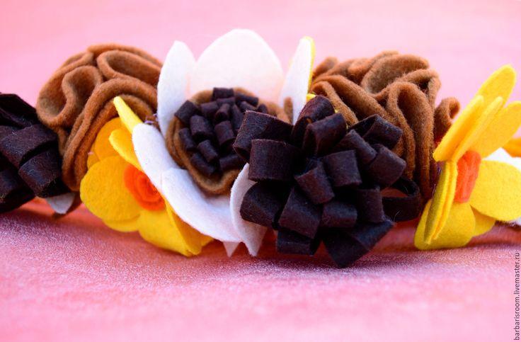 """Купить Повязка для волос """"Осенняя"""" - оранжевый, цветочный, повязка для волос, повязка с цветком, ободок с цветами"""
