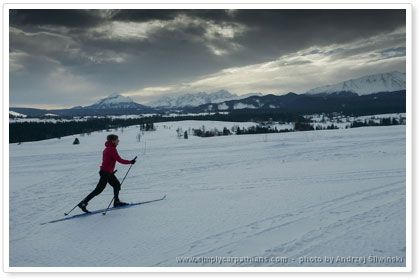 Skiing with the view of the Tatra Mountains.