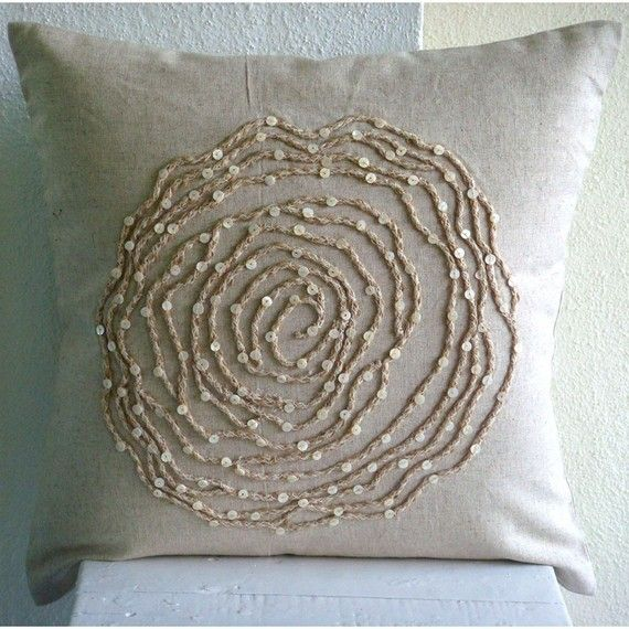Ecru Throw Pillow Covers  Square  Rose Flower by TheHomeCentric