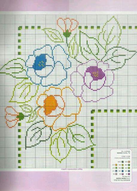 Flores Vazadas para Toalhas de Mesa (Ponto Cruz)