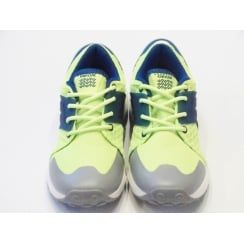 Boys Lace Up Trainers - Geox Asteroid Boy Flourescent Yellow Trainer