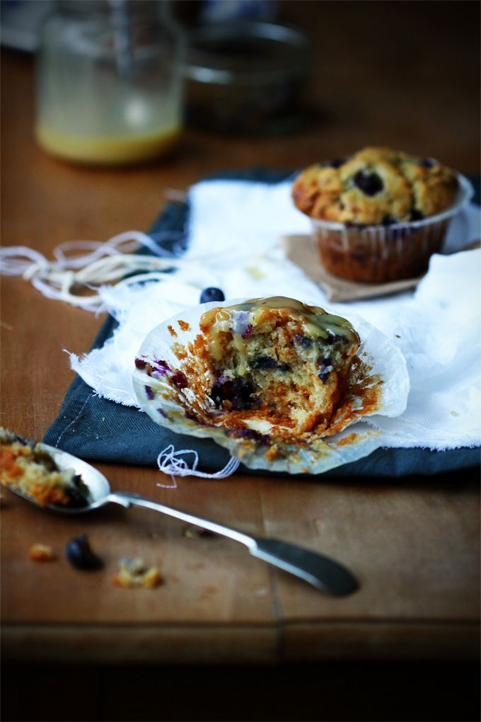 Blueberry and white chocolate muffins with rice krispies, soft caramel ...