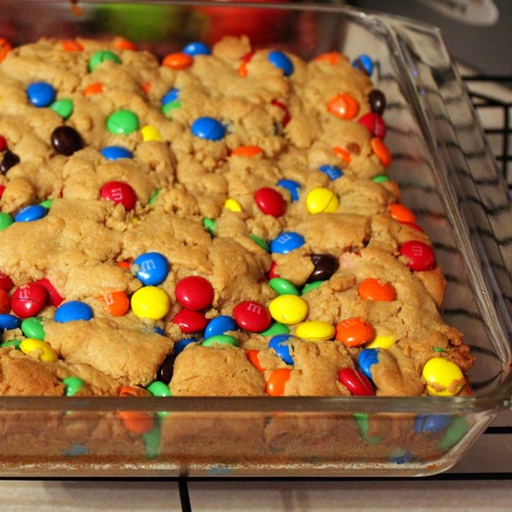 5 ingredient M & M peanut butter bars