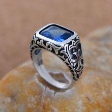 925 prata esterlina jóias de prata por atacado complexo de cristal azul Do Anel Dos Homens(China (Mainland))