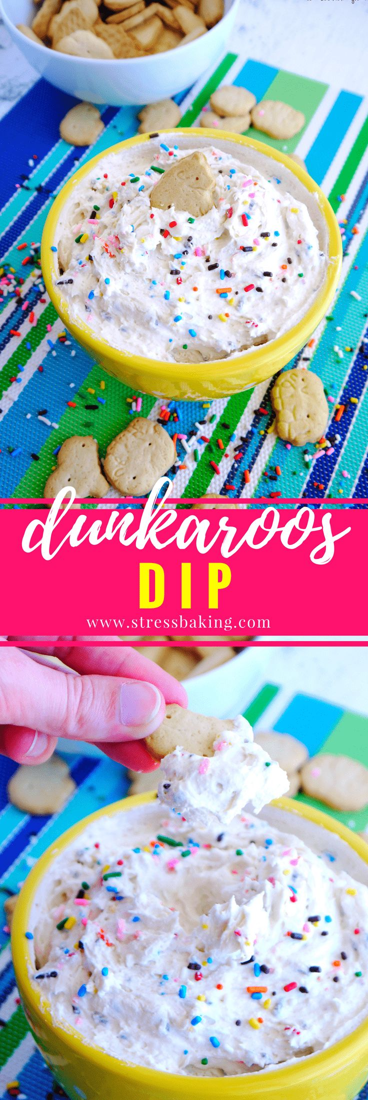 Dunkaroos Dip: A homemade version of the classic childhood treat. Easy, 3-ingredient funfetti flavored dip that's perfect for animal cracker dunking, and loaded with sprinkles! | stressbaking.com @stressbaking #stressbaking #dunkaroos #sprinkles #dip #dessert #nobake #easydessert #funfetti via @stressbaking