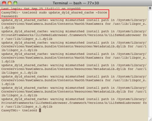 Stuck with a Spinning Pinwheel of Death?  Here's How to Fix an SPOD: Using Terminal, you can force the dyld cache to be cleared.