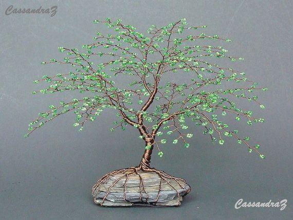 Wire Tree Beaded Bonsai Cherry Blossom Sculpture door CassandraZ