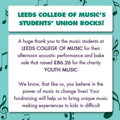 A Massive Thank You for the amazing support of the Leeds College of Music Student Union