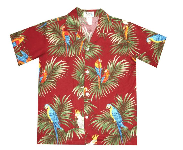 KY's Red with Parrots Boys Hawaiian Shirt