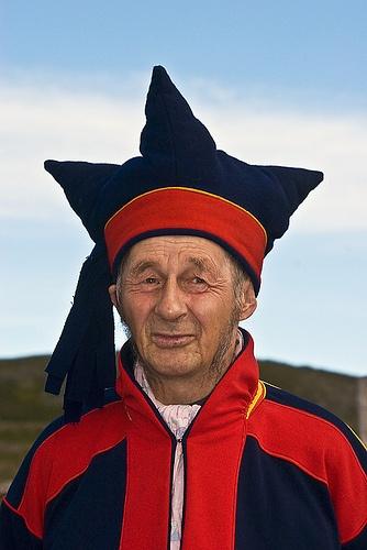 Sami man in traditional dress; Norway, Kirkenes
