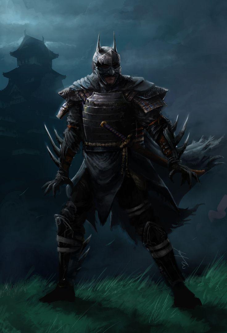 Samurai Batman, Andy Kim on ArtStation at https://www.artstation.com/artwork/aGWv8