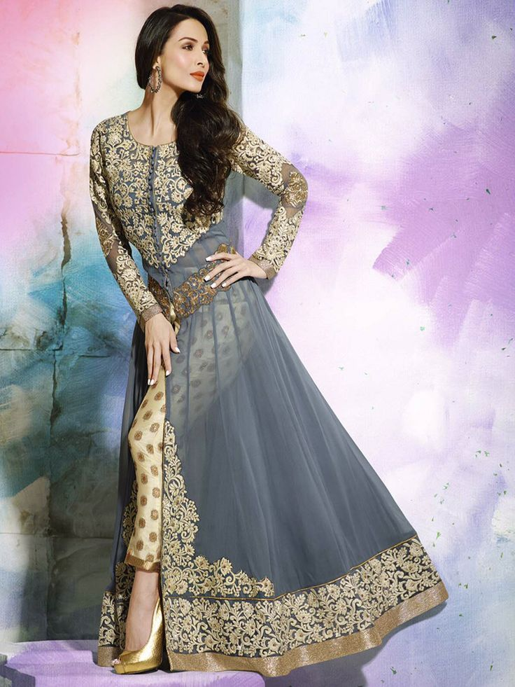 Glamour can't be manufactured, brighten up your evening look wearing this Faux Georgette, Abaya Style Front slit Kameez in Grey - See more at:http://www.akalors.in/Salwar-Kameez/Grey-Faux-Georgette-Abaya-Style-with-Straight-Pant-id-1799742.html