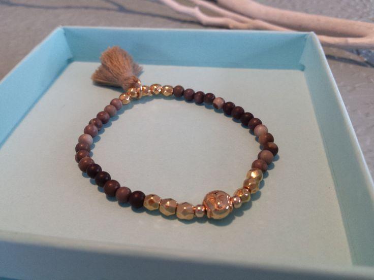 Armbänder - Perlenarmband Buddha Armband Rosegold, beige-braun - ein Designerstück von ZAUBERHAFT-Schmuckwerkstatt bei DaWanda