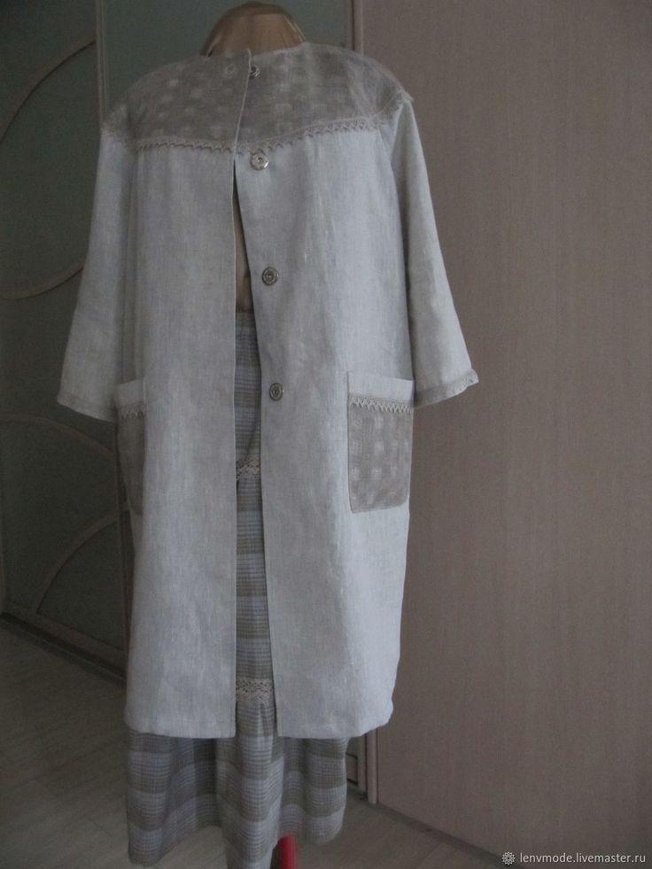 Купить Летнее льняное пальто серого цвета в интернет магазине на Ярмарке Мастеров