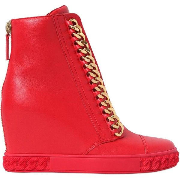 Casadei Women 80mm Chained Leather Wedge Sneakers ($460) ❤ liked on Polyvore featuring shoes, sneakers, red, wedges shoes, wedge heel sneakers, leather platform sneakers, platform wedge sneakers and red trainers