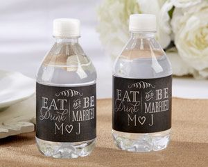 Dress up your drinks, napkin rings and more with personalized Eat, Drink and Be Married bottle labels.