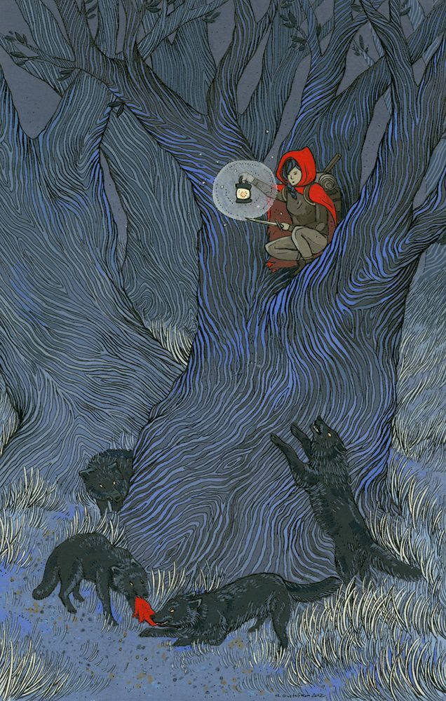 Illustration art fairy tale little red riding hood poison apple Nicole Gustafsson Nimasprout