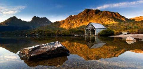 Cradle Mountain, Tasmania. Love the boat house. We walked to it and looked inside. Always used in photos advertising Cradle Mountain.