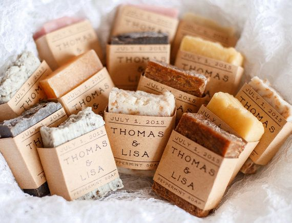 100 Wedding Favors Soap Personalized Bridal Shower Rustic Baby Guest Soaps