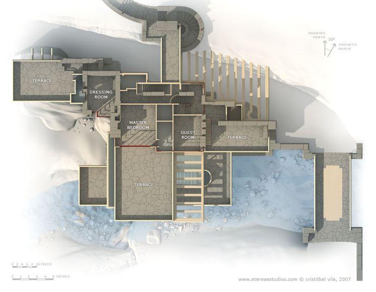 Fallingwater casa sulla cascata pianta secondo livello for Frank lloyd wright flooring