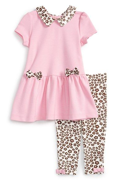 Little Me Peter Pan Collar Ponte Dress & Leggings (Baby Girls) available at #Nordstrom
