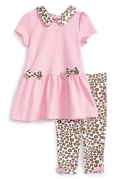 Little Me Peter Pan Collar Ponte Dress & Leggings (Baby Girls) available at #Nordstrom