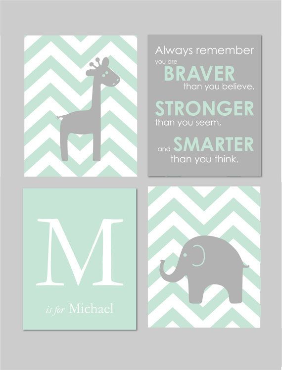 Mint and Grey Nursery Elephant Nursery Winnie the by karimachal