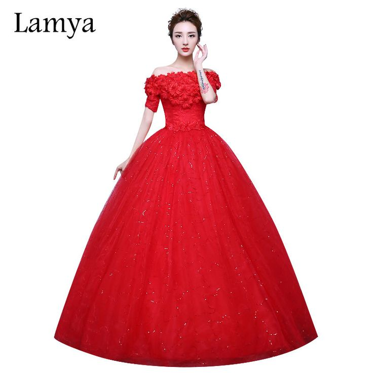 Superb Cheap dresses sashes Buy Quality dress skirt directly from China dresses fashion Suppliers Lamya Full Red Appliques Romantic Short Sleeve Wedding Dress