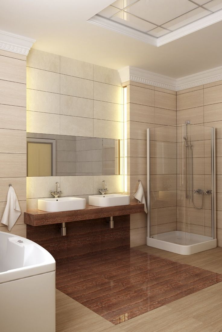 Crown molding in bathrooms - Crown Molding Above Warm Beige Tile