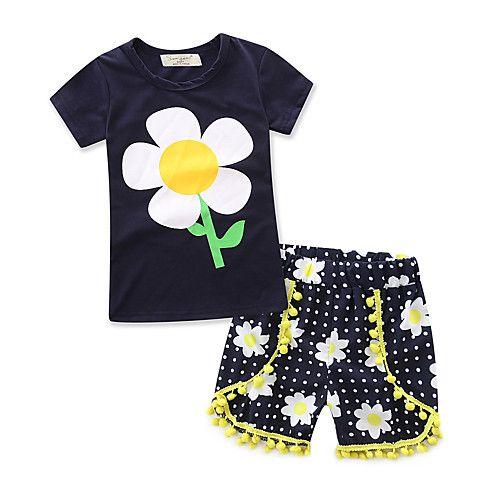 Conjuntos Para Niña Moda Geométrico 100% algodón Pantalones cortos Verano Conjunto de Ropa 2017 - $23477