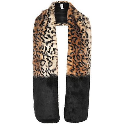 Brown leopard print block stole € 45,00