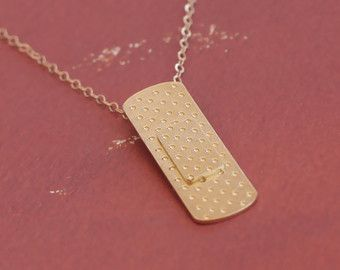 Band Aid Necklace , Gold Bandaid Jewelry , Medical , Doctor , Nurse Jewelry , Band Aid Charm , Band Aid Pendant , Med School , First Aid