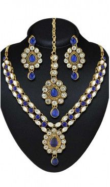 Blue Color American Diamond Work Artificial Jewellery Necklaces Set   FH500676596 Follow us @heenastyle  #Necklace #onlineshopping #necklaceset #forsale #gold #artificial #goldplated #designs #fashion #jewelry #fashionjewellry #accessories #womenfashion #pendentset #earing #jumkis #bangle #bracelets #mangalsutra #tikka #headpieces #handbags #cluethesbeg #ring #indianfashion #fashionista #anklets #bridelset #weddingset #dimondset #brass #metal #heenastylenecless #heenastyle