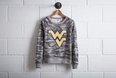 Tailgate Women's West Virginia Camo Sweatshirt by  American Eagle Outfitters | The WVU Mountaineer, adorned in a custom-tailored buckskin costume and coonskin cap, fires his musket at the start of each game and with every score. Shop the Tailgate Women's West Virginia Camo Sweatshirt and check out more at AE.com.