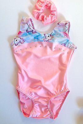 "Gymnastics Leotard & Scrunchie Set. Size 28"" 8-9yrs. NEW Cute Baby Pink Unicorns"