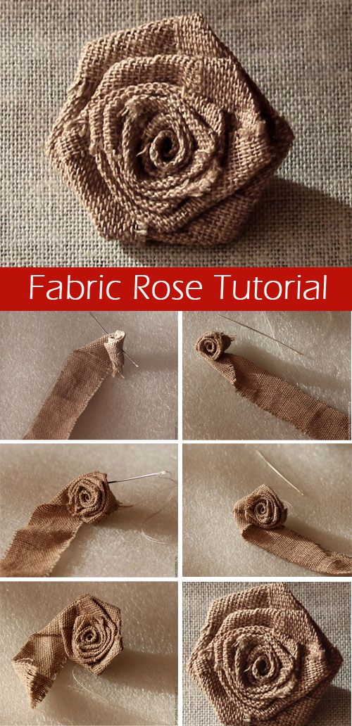 How easy and quick to sew a rose from a fabric or satin ribbon. http://www.free-tutorial.net/2017/04/fabric-rose-tutorial.html